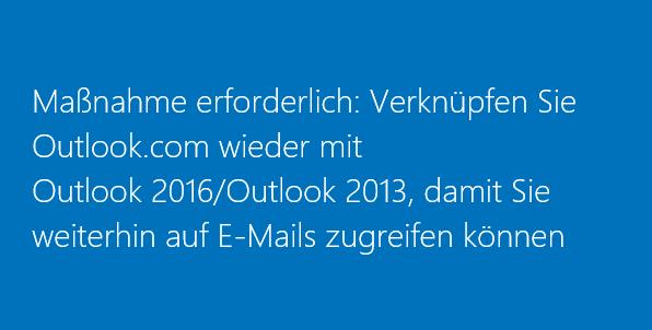 Erneutes Verbinden von Outlook 2016 oder 2013 mit Outlook.com